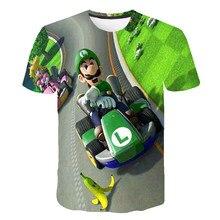 Mario-bros luigi tshirts dos desenhos animados do bebê meninos t camisa crianças roupas menino camiseta crianças roupas de manga curta meninas topos t crianças