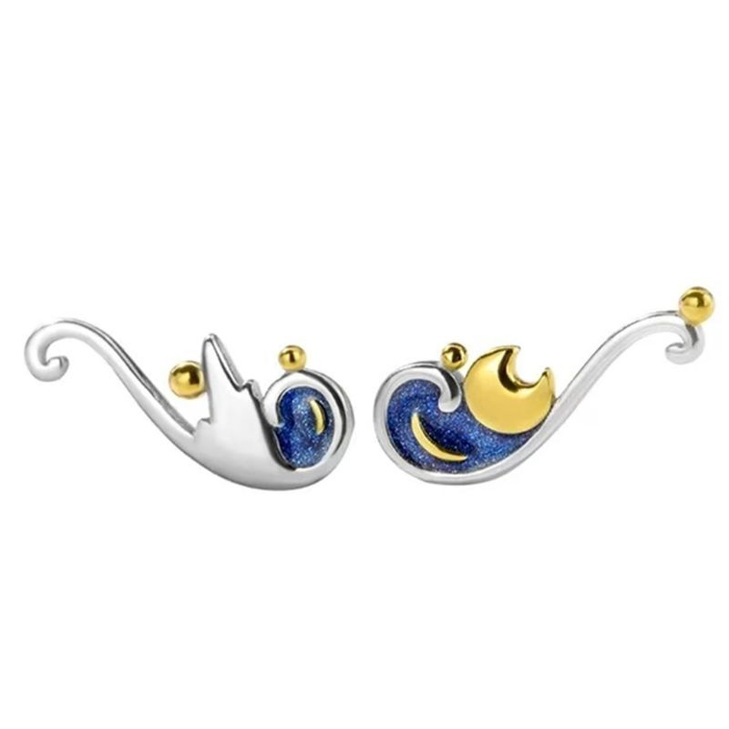 Simple Starry Sky Moon Stud Earrings Fashion Women Engagement Wedding Party Jewelry Valentine Gifts