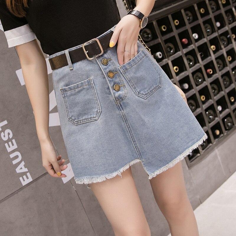 Summer Fat Mm Large Size Denim Skirt Women's 200 Large GIRL'S High-waisted Slimming Furry-Trim A- Line Sheath Short Skirt