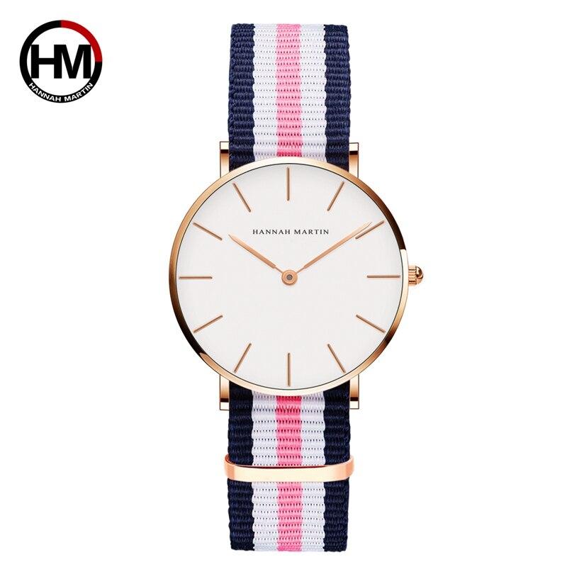 Fashion Womens Watch  Japan Quartz Movement Analog Fashion Casual Watches Nylon Strap Wrist Watches Brand Waterproof Wristwatch