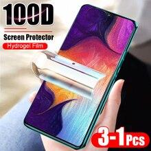 Película protetora de hidrogel para samsung, 3 1 peça 100d a10 a20 a30 40 a50 a60 a70 a7 a8 protetor de tela sem vidro 2018 m10 m20