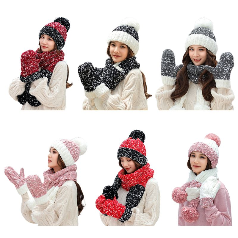 3Pcs Women Winter Chunky Cable Knit Beanie Hat Scarf Gloves Set Snowflake Crochet Contrast Color Pompom Warm Cuffed Cap