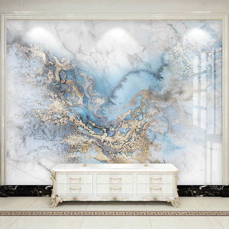 Modern 3D Abstract Blue Marble Wallpaper Living Room TV Sofa Hotel Background Wall Sticker PVC Self-Adhesive Removable Wallpaper