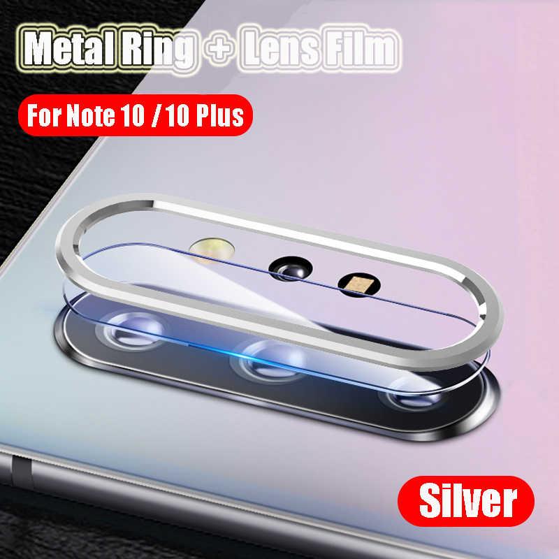 Logam Cincin Pelindung untuk Samsung GALAXY Catatan 10 S10 Plus Pro Kamera Pelindung Layar Anti Gores Samsung Note 10 S10 kaca