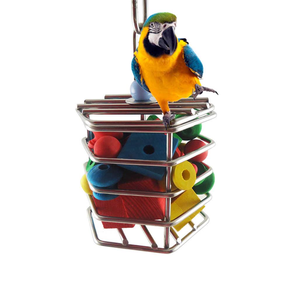2019 לחיות מחמד ציפור תוכי נירוסטה כלוב מזון תליית כלוב תוכי ליקוט בלוקים צעצוע תוכי האנט בידור צעצועים