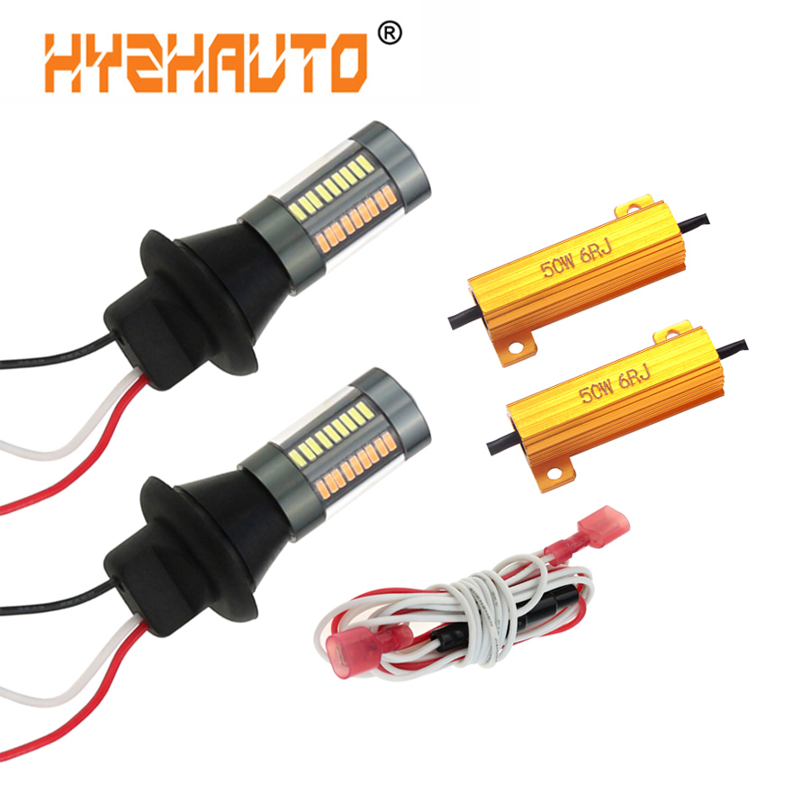 HYZHAUTO P21W W21W PY21W LED Canbus Bulbs 1156 Ba15s <font><b>T20</b></font> Dual Color Lamp No Error Turn Signal light DRL 4014 66-SMD 2Pcs/set 12v image