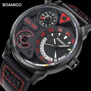 Image 5 - นาฬิกาแฟชั่นผู้ชายกีฬานาฬิกาควอตซ์BOAMIGO BrandแบบDualเวลาวันที่นาฬิกาข้อมือสายหนังกันน้ำRelogio Masculino