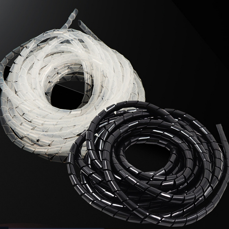 4mm-30mm White/Black Cable Wire Winding Pipe Spiral Wrapping Wire Organizer Sheath Tube PE Cable Sleeve Harness Hose Wound Tube