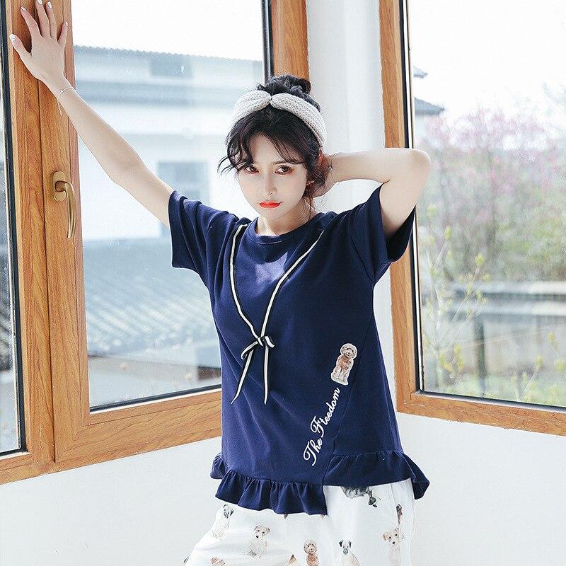 Dream Friends 5525 # Origional Pajamas Female Summer Short Sleeved Shorts Suit Pure Cotton Thin Cute Cartoon A Students