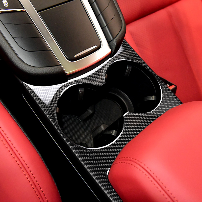 For Porsche 911 971 958 For Cayenne Macan Panamera Boxster 718 Cayman Etc Decoration Carbon Fiber  Modification Water Cup Panel