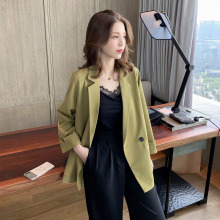 Korean Stylish Ladies Blazer Solid Green Casual Loose Suit Jacket Simple Veste Blazer Office Spring Women Blazer New MM60NXZ