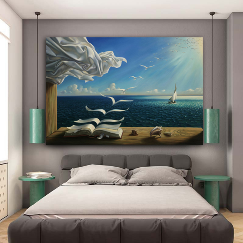 MUTU Salvador Dali Canvas Art Print Poster The Waves Book Sailboat Picture Canvas Painting Diary Of Discovery By Vladimir Kush