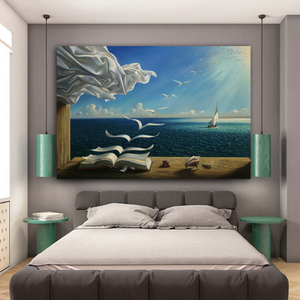 MUTU Salvador Dali Canvas Art Print Poster The Waves Book Sailboat Picture Canvas painting Diary of Discovery by Vladimir Kush(China)