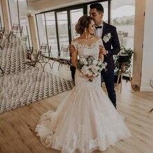 Meerjungfrau Hochzeit Kleider 2020 Jewel Neck Tüll Hochzeit Kleider Lace Up Zurück Braut Kleid Spitze Brautkleid Mit Rosshaar nach Maß