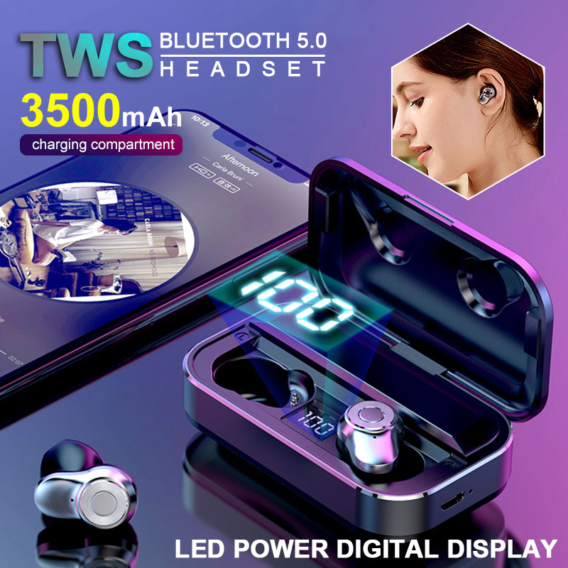 Caletop TWS Bluetooth 5.0 Headphones Metal Wireless Earphones Super Bass Headsets With Power Display Charging Case Sport Earbuds