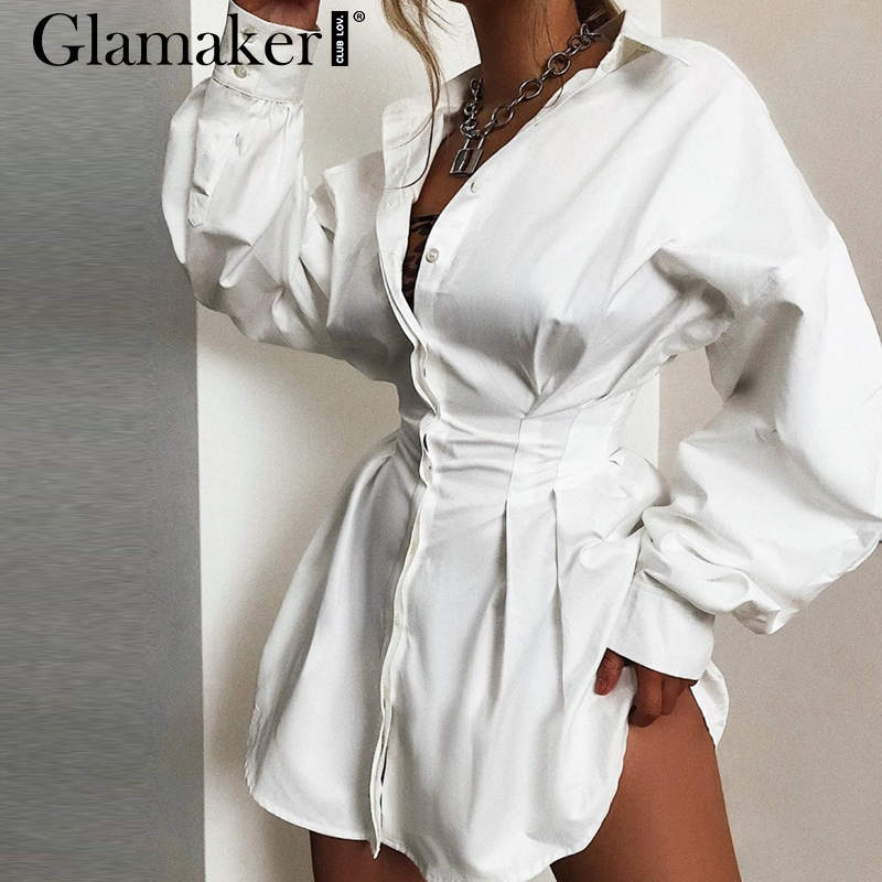 Glamaker Batwing Sleeve White Mini Dress Women Office Lady Pleated Blouse Shirt Dress Autumn High Waist Slim Elegant Short Dress