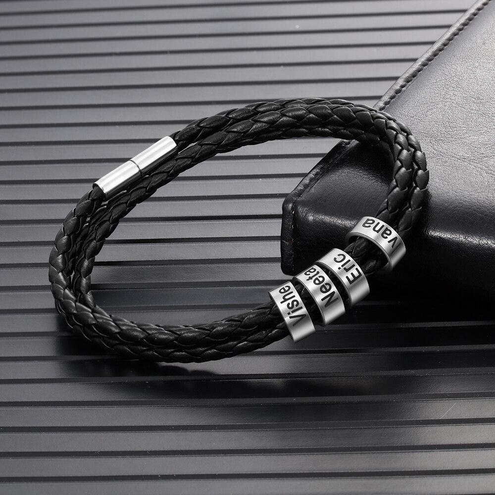 Personalized 316L Stainless Steel Braided Rope Bracelet Custom Family Names Men Bracelets & Bangles Silver Gold Rose Gold Beads