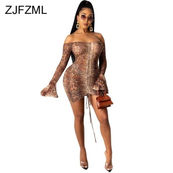 Snake Tie Dye Printed Ruch Drawstring Wrap Dress Woman Off Shoulder Long Flare Sleeve Sheath Dresses Retro Backless Robe Femme 1