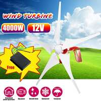 4000W 12/24V Wind turbines Permanent Wind Power Generator 5 Windmill Blades Horizontal Power Generator With Controller