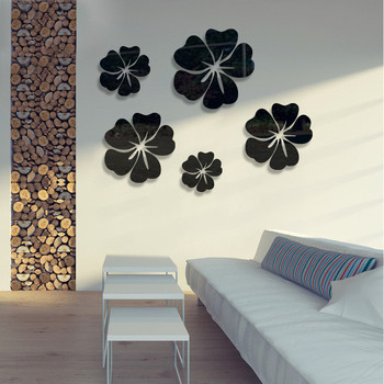 5pcs diy Petal crystal mirror wall stickers acrylic solid  wall stickers bedroom living room decoration TV background art wall 9