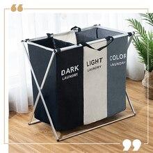 X şekil katlanabilir kirli çamaşır sepeti organizatör baskılı katlanabilir üç ızgara ev çamaşır sepeti sıralayıcı çamaşır sepeti büyük