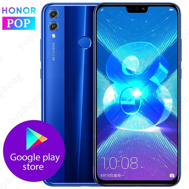 Orijinal onur 8X cep telefonu 6.5 inç 6GB 128GB Kirin 710 Octa çekirdek Android 9.0 3750mAh parmak izi kilidini Google Play store