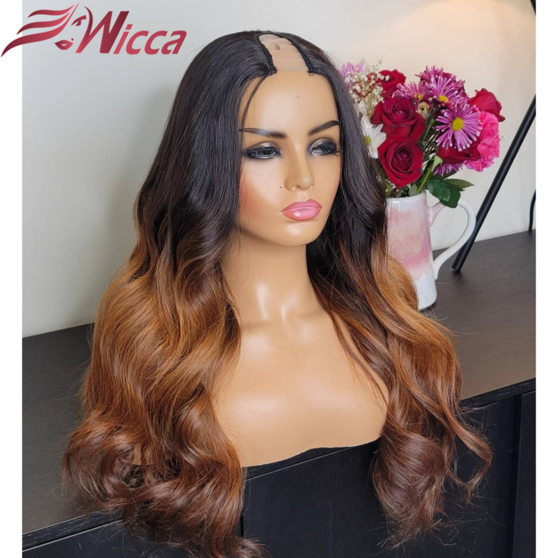 Honey Blonde Brazilian Highlight Ombre Human Hair U part Wigs for Women 150% Density Remy Hair Wigs Middle Open Upart Wigs