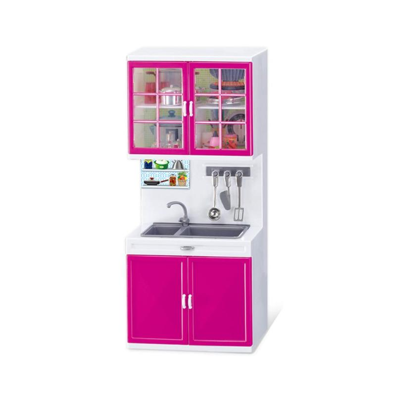 Simulation Kitchen Cabinets Set Children Pretend Play Cooking Tools Mini Dolls Tableware Suits Toys Girls Dollhouse Play Toy Gif-4
