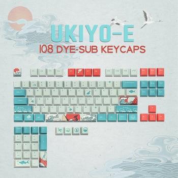 Teclas de 108 teclas OEM, teclas PBT, Keycap, tinta de sublimación Japón ukiyo-e y Mouse Pad para GK61 Cherry MX, interruptores, Teclado mecánico