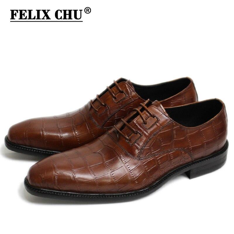 FELIX CHU ใหม่อิตาเลี่ยนโมเดิร์นผู้ชายอย่างเป็นทางการรองเท้า Oxford รองเท้าหนังจระเข้แท้พิมพ์สีน้ำตาลสีเขียว Lace Up ผู้ชายรองเท้า-ใน รองเท้าทางการ จาก รองเท้า บน   1