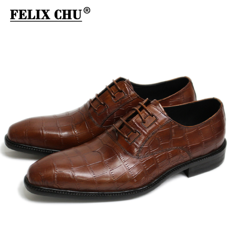 Ayakk.'ten Resmi Ayakkabılar'de FELIX CHU Yeni İtalyan Modern Erkekler Resmi Oxford Ayakkabı Hakiki Deri Timsah Baskı Kahverengi Yeşil Dantel Up Elbise erkek ayakkabı'da  Grup 1