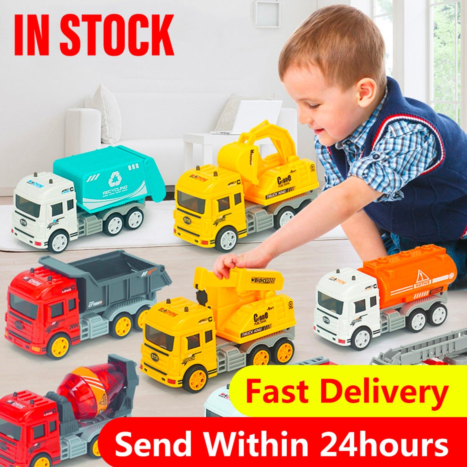 Игрушечный Грузовик под давлением, экскаватор, пожарная машина, Инженерная техника, инерционная миниатюрная детская игрушка, подарок, трюк...