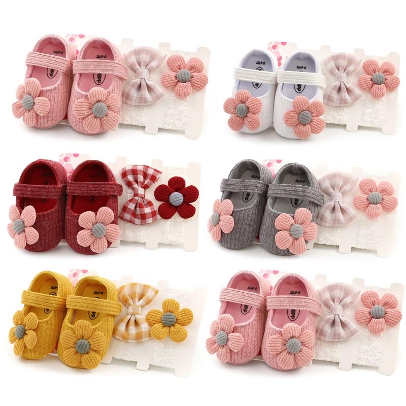 0-18M Infant Newborn Baby Girls Boys Crib Shoes Cotton Flowers Hook Soft Cork Baby Shoes 6 Colors+Headband 1