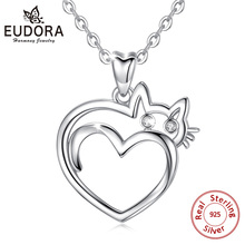EUDORA 925 Sterling Silver Cute Cat Lover Gift Cat Pendant Necklace Heart Cat Cubic Zirconia Necklaces for Women Teen Girls D459