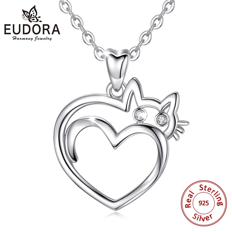 EUDORA 925 Sterling Silver Cute Cat Lover Gift Cat Pendant Necklace Heart Cat Cubic Zirconia Necklaces for Women Teen Girls D459 image