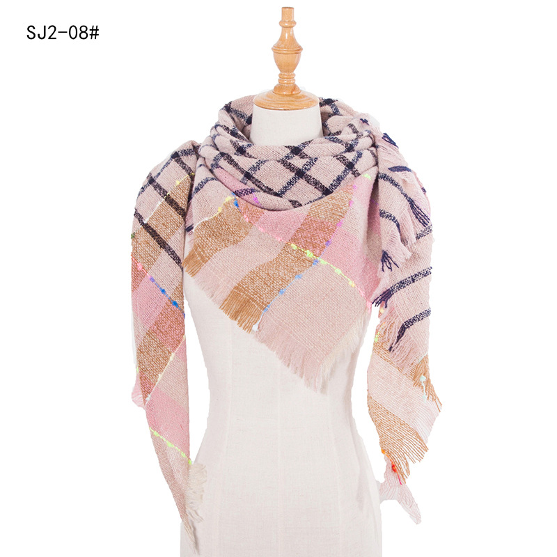 2020 Design Brand Women Scarf Plaid Warm Scarves Triangle Knitted Neck Shawls and Wraps Female Blanket Echarpe Cashmere