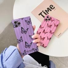 цена на Butterfly Pattern  Fashion Square Silicone Phone Case For iPhone 11 Pro Max X XS MAX XR 7 8Plus  Shockproof  Soft Case Cover