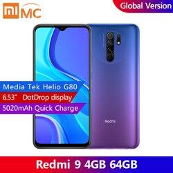 Original redmi 9 4gb 64gb versão global smartphone 6.53 ffhd + ponto drop display helio g80 octa núcleo 5020mah ai rosto desbloqueio
