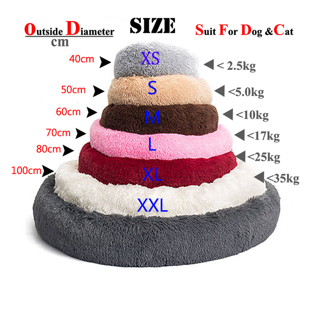 Long Plush Calming Pet Bed for Cat or Dog Round Plush Dog Mat Cats House Nest Soft Dog Basket Pet Cushion Portable Pets Supplies 3