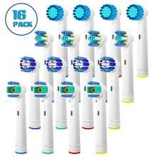 Pacote de 16 cabeças de escova de dentes para oral b-inclui 4 precisão limpa, 4 fio limpo, 4 limpo senstive, 4 branco limpo