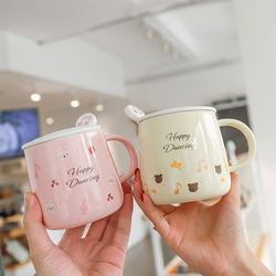 Cartoon rabbit pattern mug with spoon lid,Creative Porcelain Coffee Latte Mug Printing Teacup Ceramic Tea Cup Water Drinkware