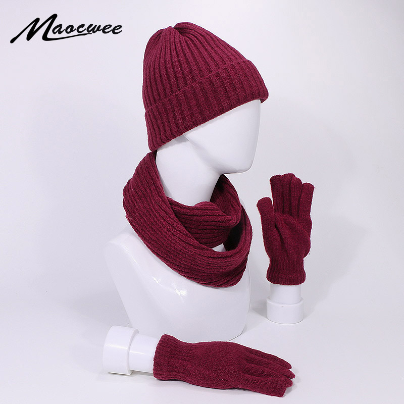 New Arrival Hat Scarf Gloves Set Winter Beanies Hats Knitted Outdoor Warm Thicken Men Women Cap Gloves Suit Unisex 3Pcs Skullies
