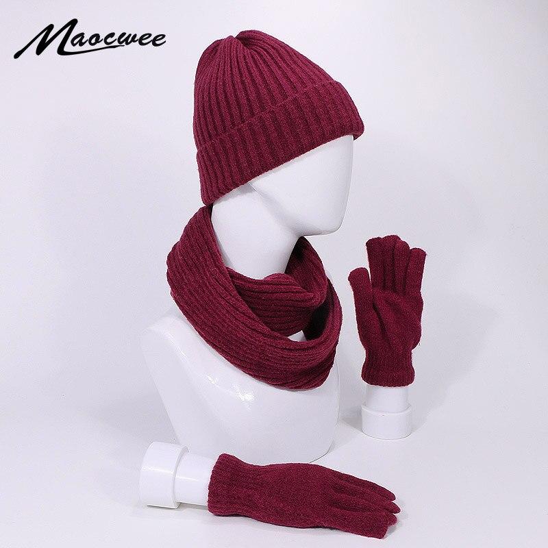 New Arrival Hat Scarf Gloves Set Winter Beanies Hats Knitted Outdoor Warm Thicken Men Women Cap Gloves Suit Unisex 3Pcs Skullies