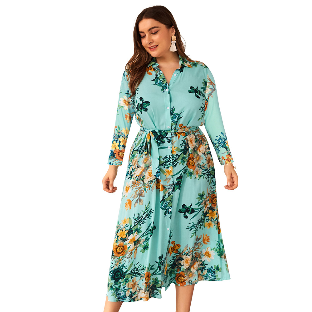 Origional Design Large Size Dress Amazon Hot Selling 2019 Autumn And Winter Long Sleeve New Products Floral Printed Dress