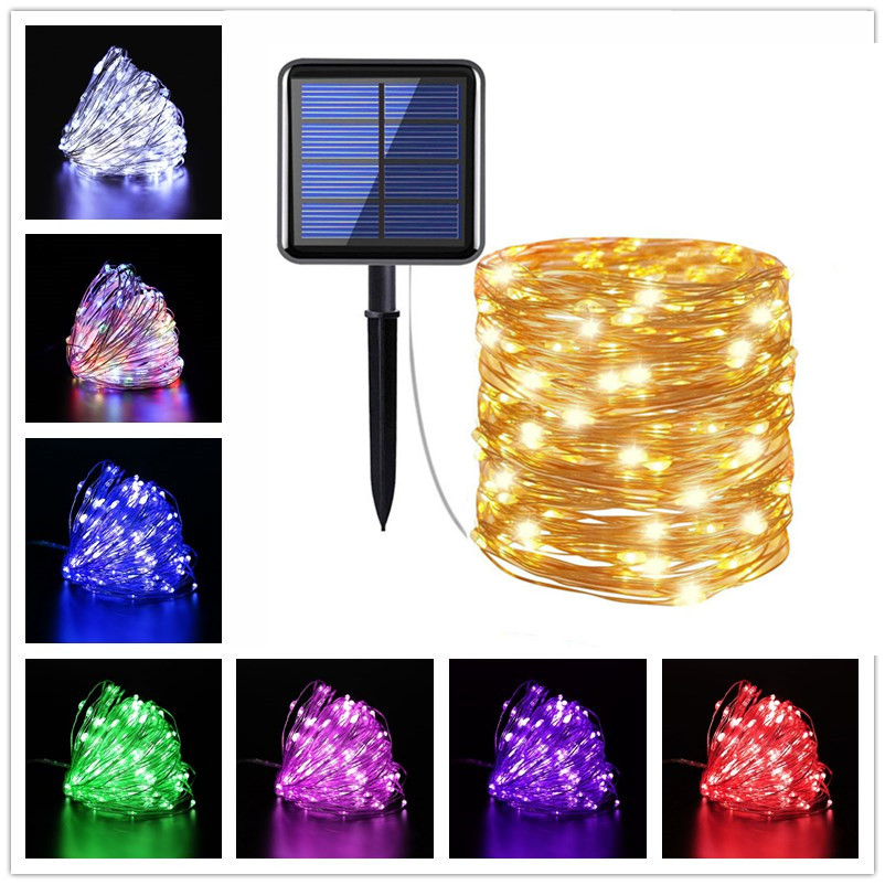 Christmas Decoration for Garden Street 8 Modes Outdoor Solar String Fairy Lights 10M 20M LED Waterproof Solar Lamps 100/200leds