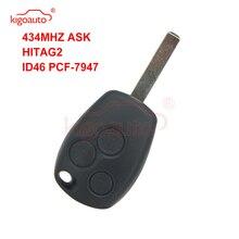 Kigoauto Remote key 3 button VA6 PCF7947 433mhz  ASK hitag2  ID46 PCF7947 for Renault Clio Kangoo Modus Master Twingo qcontrol car remote key suit for renault master clio twingo kangoo pcf7946 chip 433mhz