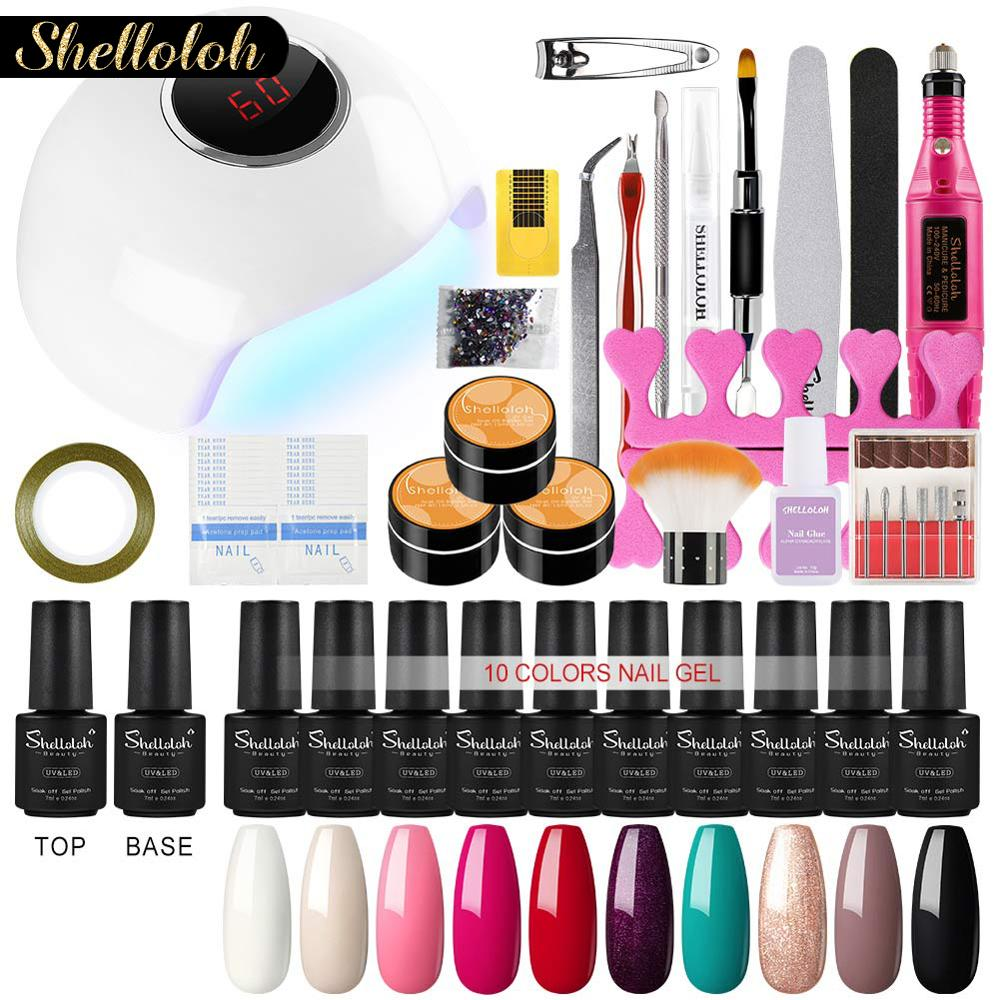 Shelloloh Nail Art 7ML Nail Gel Polish Kit UV Gel Polish Varnish Nail Set Long-lasting All For Manicure Set Gel For Nails Tools