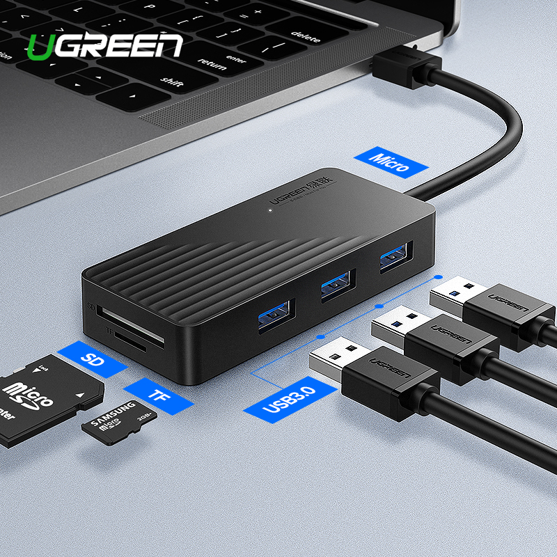 Ugreen 5-in-1 USB HUB with Card Reader 3 Port USB 3.0 HUB Splitter Micro USB Power Port for iMac Laptop Accessories USB HUB