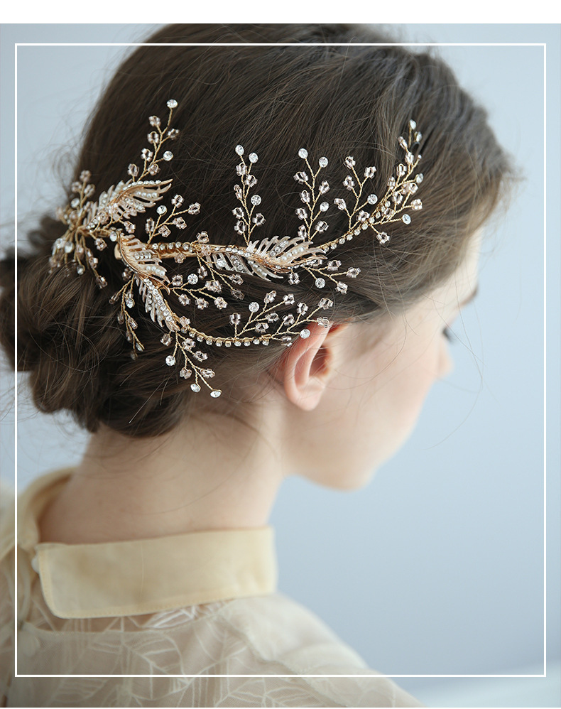 cross-border exclusively for wedding accessories European and American handmade side clip bridal accessories rhinestone headwear