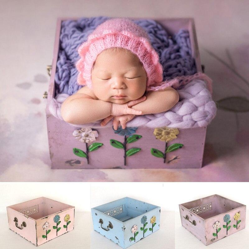 Newborn Photography Prop Bed 3D Flower Hollow Pattern Wooden Frame Rainbow Baby Photograph Basket Studio Fotografia Accessories